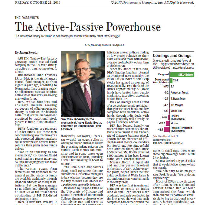 The Wall Street Journal on The Active-Passive Powerhouse