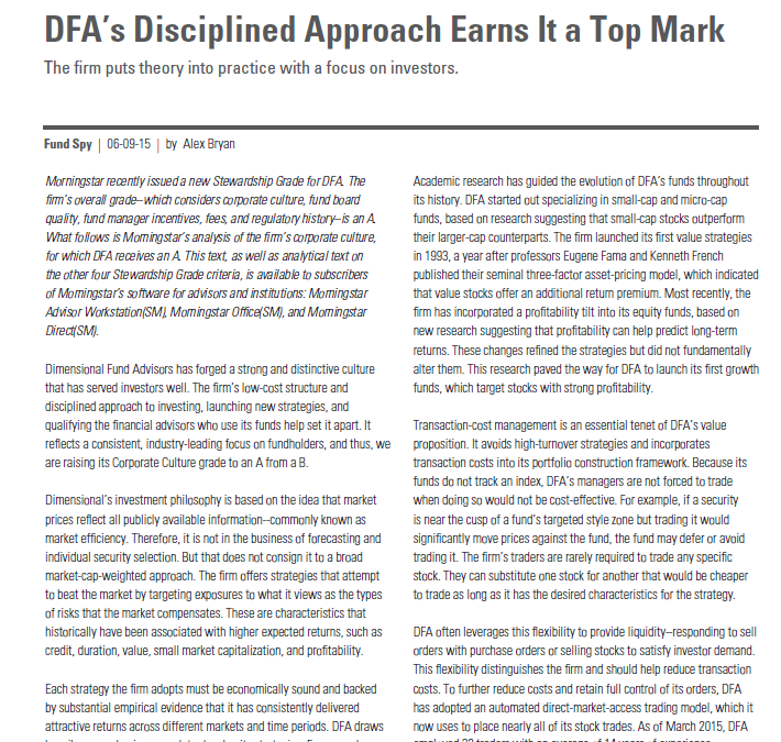 Morningstar on DFA's Disciplined Approach